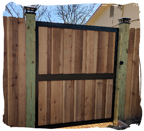 Board on Board Cedar Fence with Aluminum Gate Frame